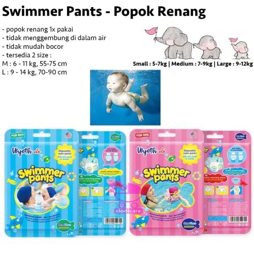 Foto Produk Swimmer Pants Celana Renang Bayi Swimming Popok Celana Renang 1x Pakai - Biru, L dari clodicare
