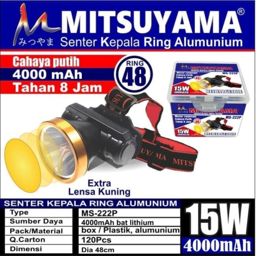 Foto Produk Senter Kepala LED Ring Alumunium Extra Lensa Kuning Mitsuyama MS-222P dari Pooh Shop Grosir