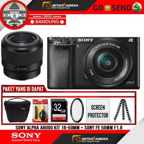 Foto Produk Sony Alpha A6000 Kit 16-50mm + Sony FE 50mm f1.8 PAKET dari MitraKamera Bandung