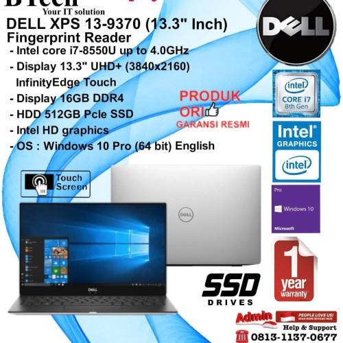 """Foto Produk DELL Xps 13-9370 (13.3"""" UHD TOUCH) Core i7-8550U/16GB/512GB/WIN10PRO. dari BESTechno88"""