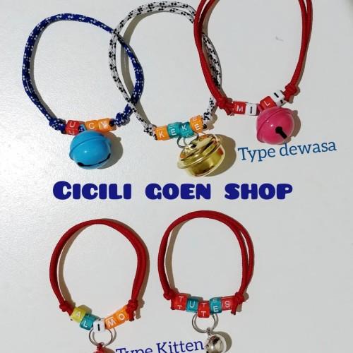 Foto Produk Kalung kucing anjing request nama plus lonceng besar tali krusik dari cicilia Goen Shop