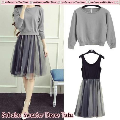 Foto Produk Dress set sweater abu [Setelan Wanita 0153] RLD dari Super Model