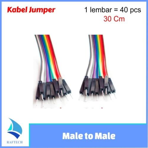 Foto Produk Kabel Jumper arduino Dupont Pelangi 30 cm Male to Male 1 lembar dari RAFTECH