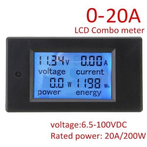 Foto Produk DC 20A 6.5-100V 4 in 1 Voltmeter Amperemeter Watt meter Energy meter dari lapakdiskon