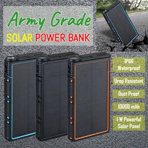 Foto Produk Army Grade Solar Powerbank Power Bank 10000 mAh IP66 Waterproof etc - Hitam dari Ba-Wang