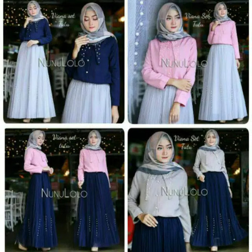 Foto Produk Gisela set/setelan rok tutu murah/setelan baju wanita muslim modern dari dewshop