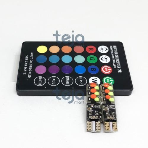 Foto Produk NEW LAMPU LED T10 COB MOBIL MOTOR RGB JELLY ISI 2PCS REMOTE BATERAI DC dari TejaMart