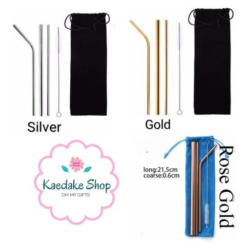 Foto Produk Set 5pcs Sedotan stainless + Pouch dari Kaedake Shop