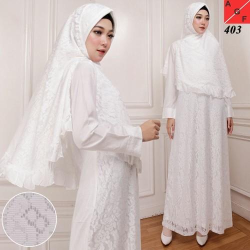 Foto Produk Baju Gamis Wanita / Gamis Putih / Muslim Wanita #403 STD - Putih, M dari Agnes Fashion88