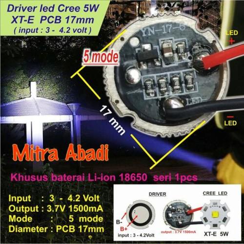 Foto Produk LED Driver CREE 5 Watt XT-E 1500 mA Diameter 17 mm Tanpa Casing dari Toko Mitra Abadi