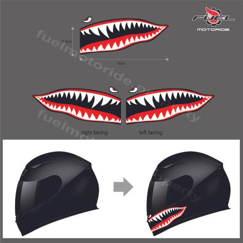 Foto Produk Sticker Flying Tiger Shark Teeth sepasang AGV ARAI SHOEI KBC KYT NOLAN dari Fuel