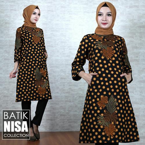 Foto Produk Baju Batik Dress Terusan Wanita Bunga Tutul Katun Cap Malam Etnik dari Batik Nisa Colection