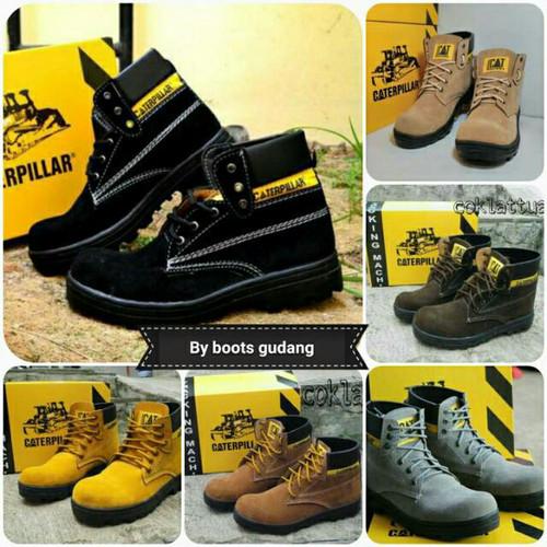 Foto Produk sepatu boots sefty caterpillar drak brown promo dari z1ra shoes