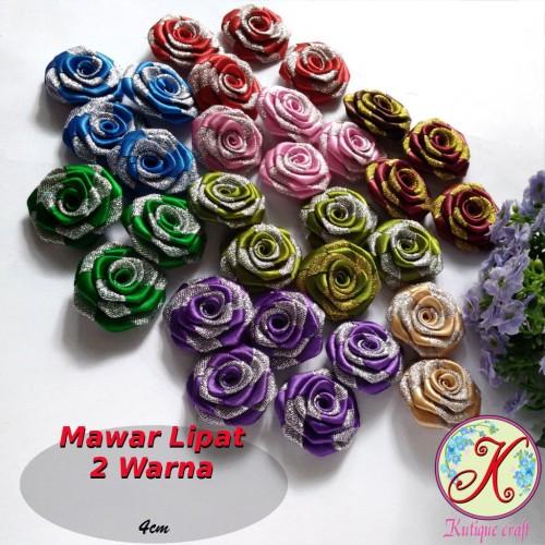 Foto Produk Mawar Lipat 2 Warna Pita Satin 4cm lusinan dari Kutique Craft