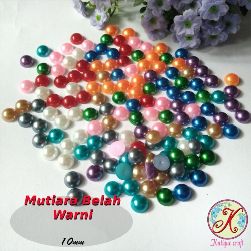 Foto Produk Mutiara Belah Warna 10mm mix per pack dari Kutique Craft