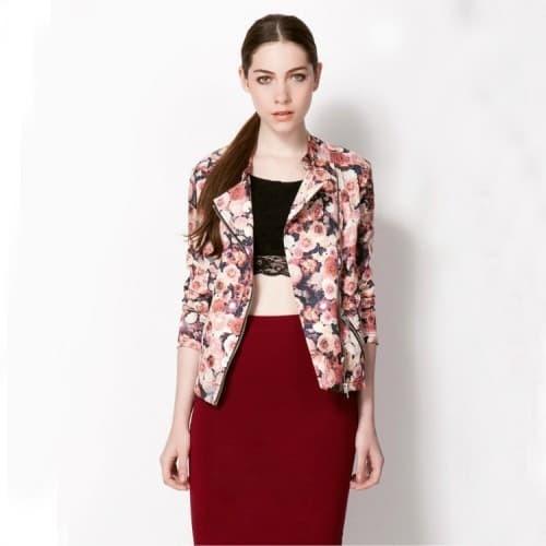 Foto Produk Rose Zipper Pink Red Flower Jacket IMPORT dari RedVelvetBoutique