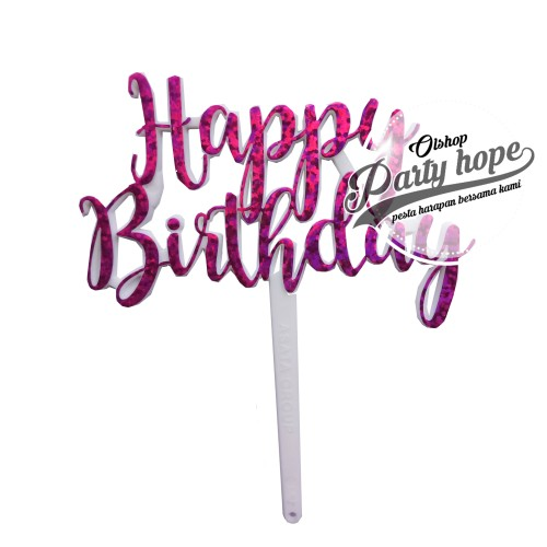 Foto Produk topper cake HBD PINK/ topper cupcake HBD/ topper cake HBD/ hiasan kue dari PARTY HOPE 2