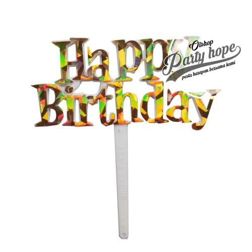 Foto Produk topper cake HBD GOLD/ topper cupcake HBD/ topper cake HBD/ hiasan kue dari PARTY HOPE 2