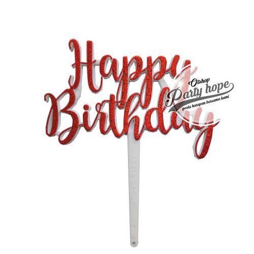 Foto Produk topper cake HBD merah/ topper cupcake HBD/ topper cake HBD/ hiasan kue dari PARTY HOPE 2