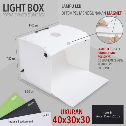 Foto Produk LIGHT BOX PORTABLE MINI PHOTO STUDIO MAGIC BOX UKURAN 40X30X30cm dari Toko-Anyar