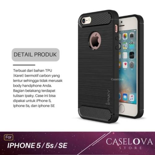 Foto Produk Case For Iphone 5 / 5s / SE Premium Softcase iPAKY Carbon - Hitam dari Caselova Store