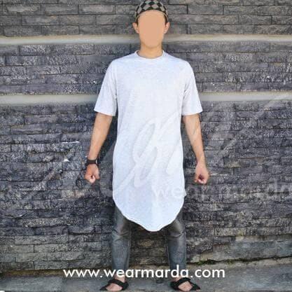 Foto Produk kaos gamis pakistan putih misty kurta ikhwan -D181 dari Gamis Bordir Terbaru