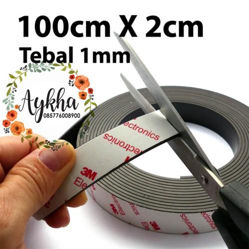 Foto Produk Magnet Strip Lembaran Tempelan Kulkas 2cm x 100cm Stiker Dobel Tape 3M dari Aykha