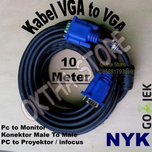 Foto Produk Kabel VGA To VGA / Kabel VGA Male To Male 10 Meter NYK dari Oktha Store
