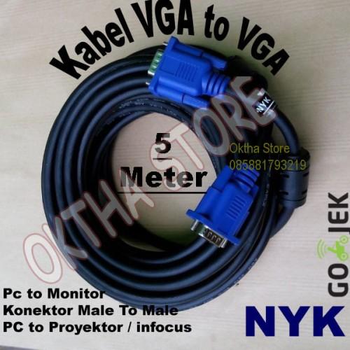 Foto Produk Kabel VGA To VGA / Kabel VGA Male To Male 5 Meter NYK dari Oktha Store