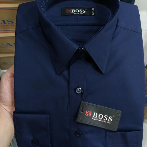 Foto Produk Kemeja Pria Boss Panjang Slimfit Biru Dongker Navy Blue Black Plakat - Navy, S dari Mega Hero Shirts