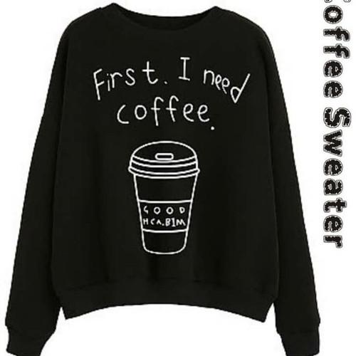 Foto Produk sweater kopi hitam baju jacket blouse wanita jaket kids jaman now dari boutique preloved