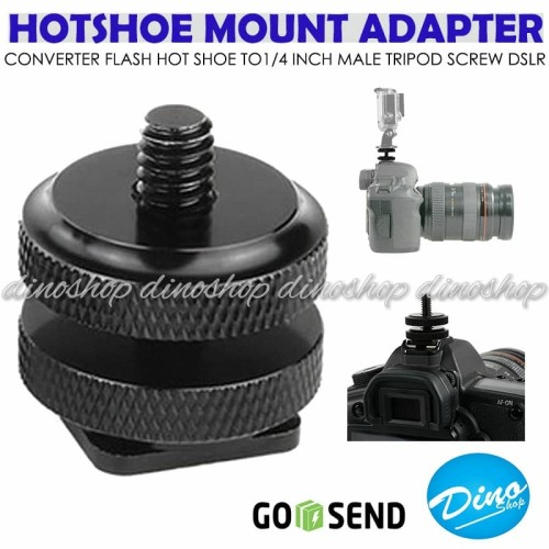Foto Produk Adapter Mount Flash Hot Shoe To 1/4 Inch Male Tripod Screw DSLR GoPro dari Dino Shop_id