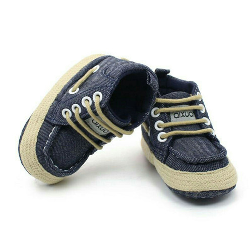 Foto Produk Sepatu Prewalker Shoes Anak Bayi Laki-Laki Denim Tali dari Nuning Ningrum Shop