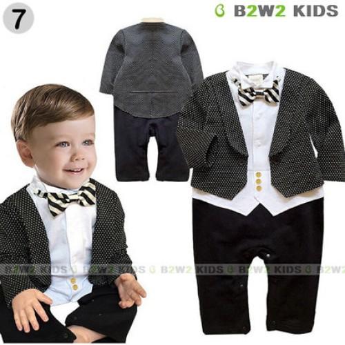 Foto Produk Baju Romper Anak Laki Jas Kemeja Pesta Hitam Abu 0 1 2 Tahun Baby Dasi dari Corry Kids