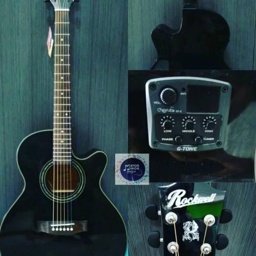 Foto Produk Gitar Akustik Rockwell RA 100 CE BK dari Mayor Minor Musik