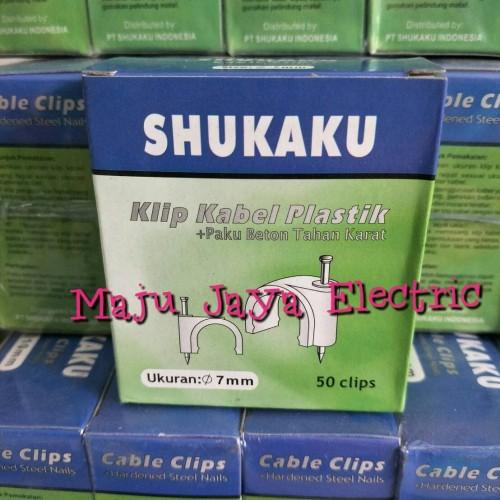 Foto Produk Klem Kabel Paku Beton 7mm Shukaku Klen Kabel Klip Cable Clips 7 mm dari Toko Maju Jaya Electric