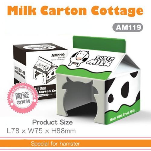 Foto Produk AM119 Milk Carton Cottage House Rumah Hamster Keramik dari Hime petshop