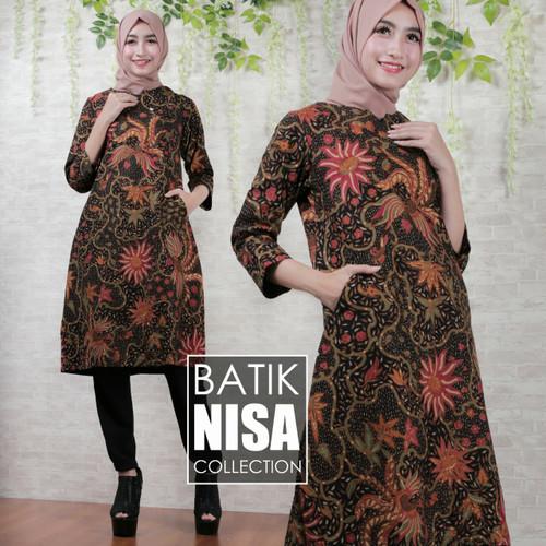 Foto Produk Baju Batik Dress Terusan Wanita Bunga Madura Katun Cap Malam Etnik dari Batik Nisa Colection