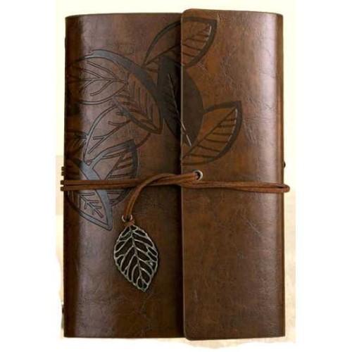 Foto Produk Buku Catatan Binder Kulit Retro Leaf Kertas A6 - Leather Buku Klasik - Coffee dari Oline Store