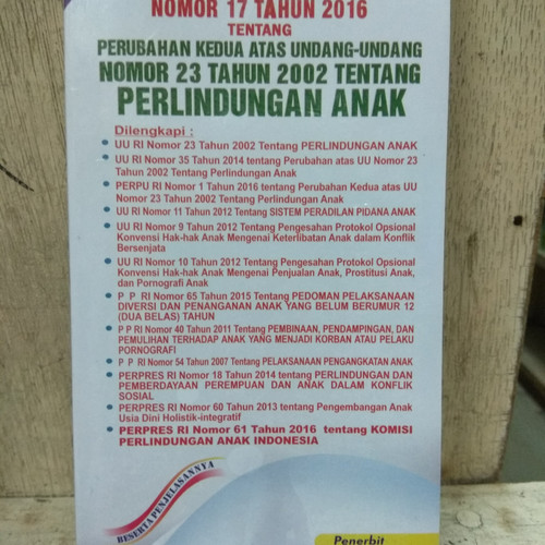 Foto Produk Undang undang RI No 17 Thn 2016 Atas 23 Thn 2002 Perlindungan Anak dari Saribuku