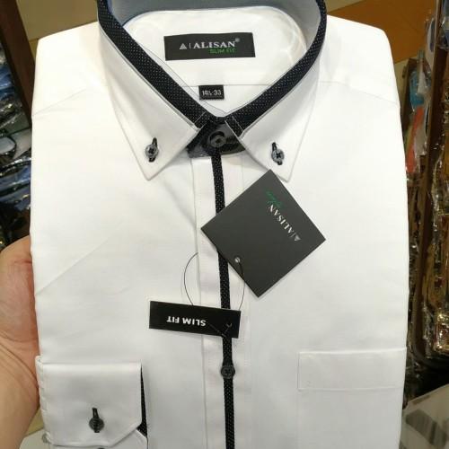 Foto Produk Kemeja Alisan Putih Slimfit Panjang List Plakat Kerah Sambung - Putih, L dari Mega Hero Shirts