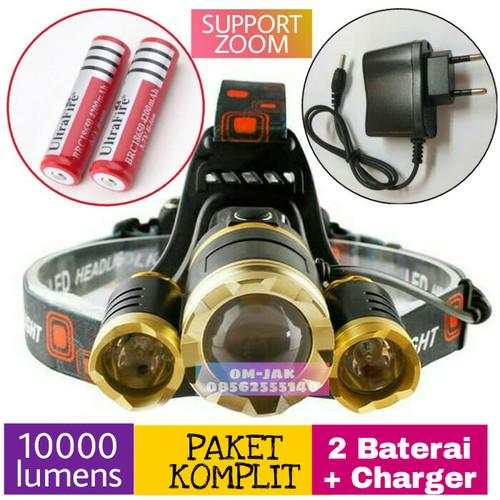 Foto Produk Paket senter kepala / Headlamp Cree XML T6 golden 10000 Lmn waterproof dari om-jak