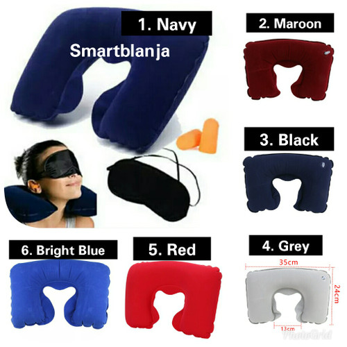 Foto Produk Inflatable Travel Pillow Set Air Bantal Leher Penutup Mata Telinga dari Smart Indonesia