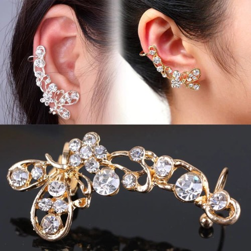 Foto Produk Ear clip long butterfly flower diamond   aksesoris import murah dari Sunset Acc Collection
