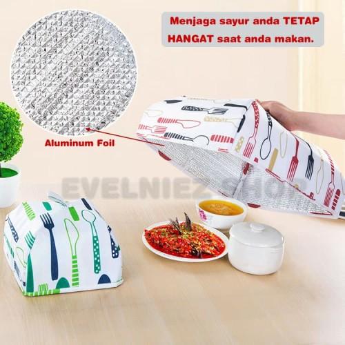 Foto Produk Tudung Saji Lipat Aluminium Foil / Penutup Makanan Tahan Panas Size L - Hijau Tosca dari Evelniez Shop