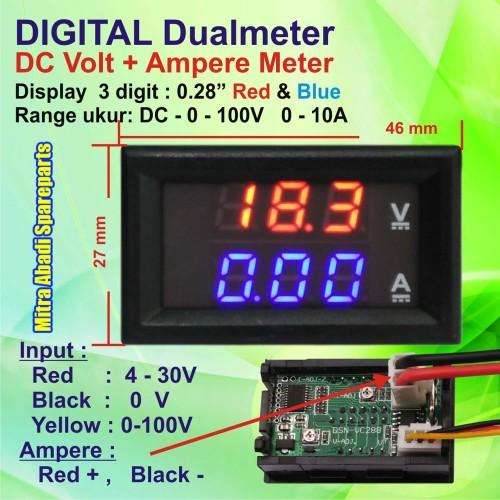 Foto Produk Dualmeter: Voltmeter & Amperemeter 0-10A 0-100V Digital dari Mitra Abadi Spareparts