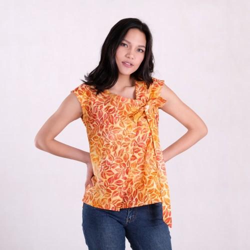 Foto Produk Batik Pria Tampan - Blouse Nibica Orange Tropical Vine - Orange, M dari Batik Pria Tampan Solo