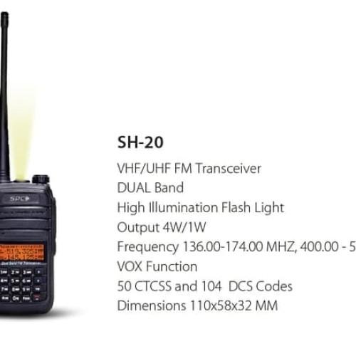 Foto Produk Walkie talkie Dual Band HT SPC SH20 1800mAh dari Harco Komputer