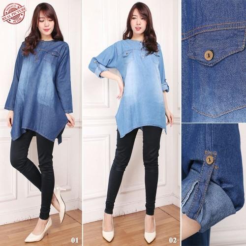 Foto Produk Atasan Blouse Jeans Jumbo Ghinna Kemeja Wanita - Biru dari holy Beauty