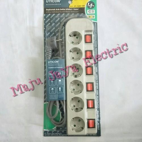 Foto Produk StopKontak / Stop Kontak / Colokan Listrik Cabang 6 Uticon ST-1682 SW dari Toko Maju Jaya Electric